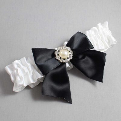 White and Black Wedding Garter / White Wedding Garters / Amanda #01-B01-M24-112-White-123-Black / Wedding Garters / Custom Wedding Garters / Bridal Garter / Prom Garter / Linda Joyce Couture