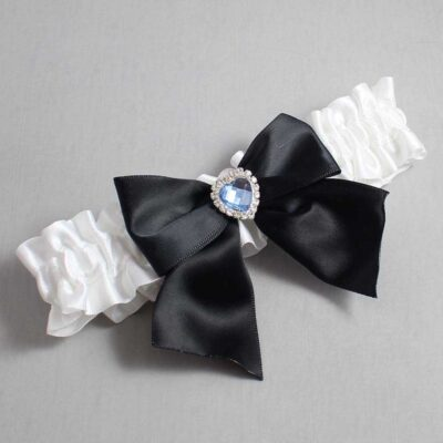 White and Black Wedding Garter / White Wedding Garters / Kittie #01-B01-M25-112-White-123-Black / Wedding Garters / Custom Wedding Garters / Bridal Garter / Prom Garter / Linda Joyce Couture
