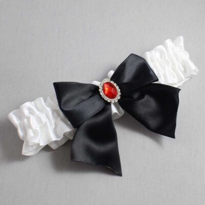 White and Black Wedding Garter / White Wedding Garters / Danita #01-B01-M26-112-White-123-Black / Wedding Garters / Custom Wedding Garters / Bridal Garter / Prom Garter / Linda Joyce Couture