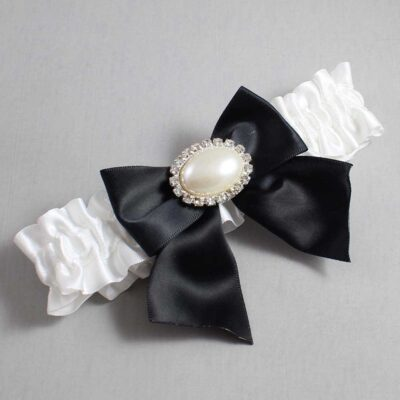 White and Black Wedding Garter / White Wedding Garters / Nicole #01-B01-M30-112-White-123-Black / Wedding Garters / Custom Wedding Garters / Bridal Garter / Prom Garter / Linda Joyce Couture
