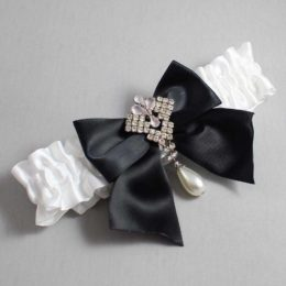 White and Black Wedding Garter / White Wedding Garters / Madeline #01-B01-M33-112-White-123-Black / Wedding Garters / Custom Wedding Garters / Bridal Garter / Prom Garter / Linda Joyce Couture