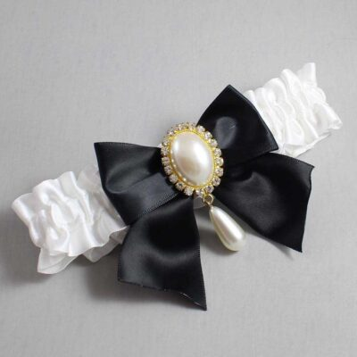 White and Black Wedding Garter / White Wedding Garters / Michaela #01-B01-M34-112-White-123-Black / Wedding Garters / Custom Wedding Garters / Bridal Garter / Prom Garter / Linda Joyce Couture