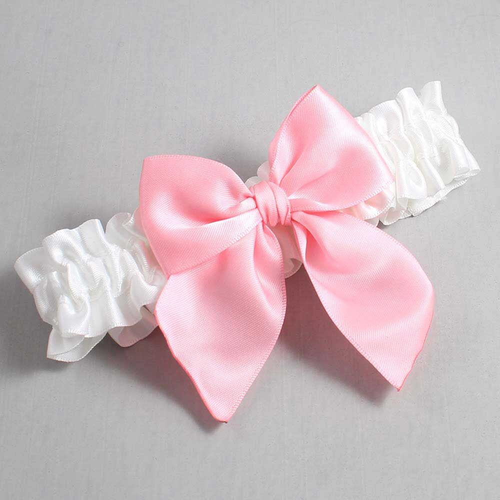 White and Pink Wedding Garter / White Wedding Garters / Kimberly #01-B01-00-112-White-156-Pink / Wedding Garters / Custom Wedding Garters / Bridal Garter / Prom Garter / Linda Joyce Couture
