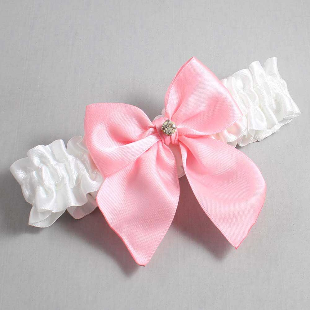 White and Pink Wedding Garter / White Wedding Garters / Pamela #01-B01-M03-112-White-156-Pink / Wedding Garters / Custom Wedding Garters / Bridal Garter / Prom Garter / Linda Joyce Couture