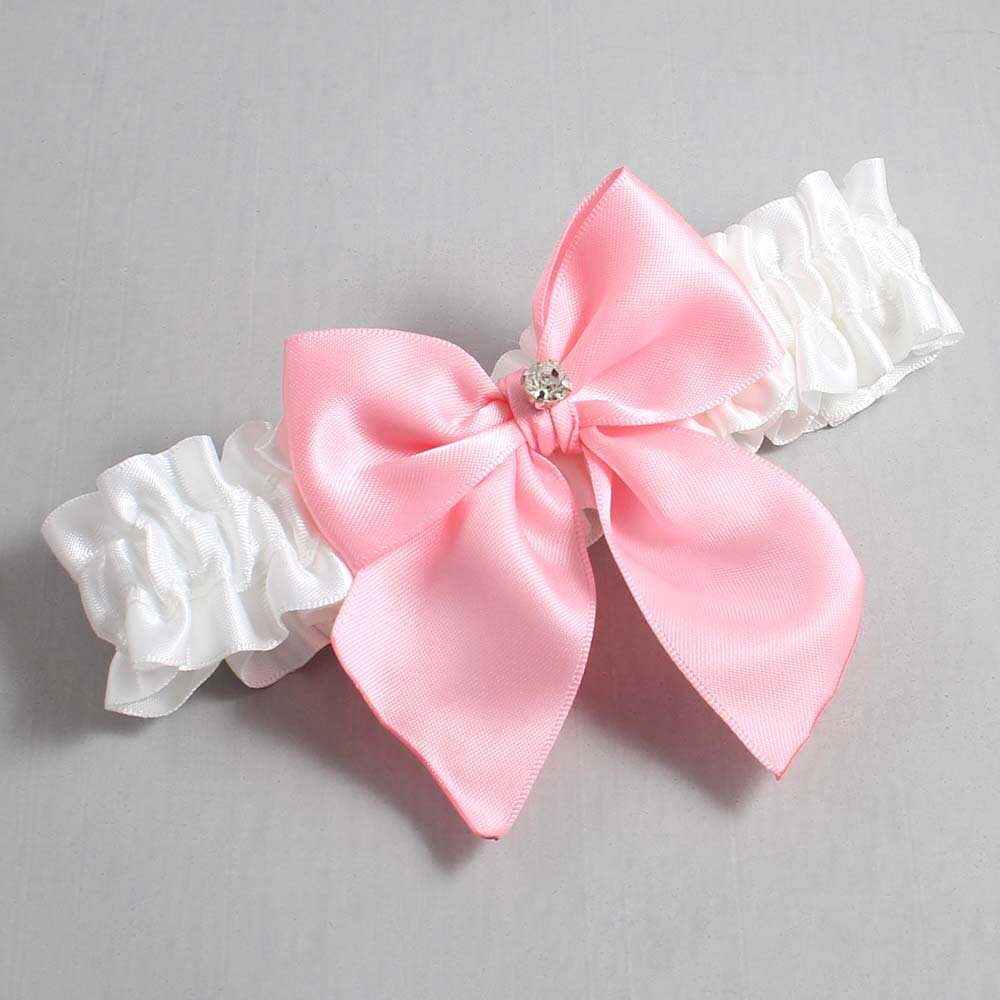 White and Pink Wedding Garter / White Wedding Garters / Pamela #01-B01-M04-112-White-156-Pink / Wedding Garters / Custom Wedding Garters / Bridal Garter / Prom Garter / Linda Joyce Couture