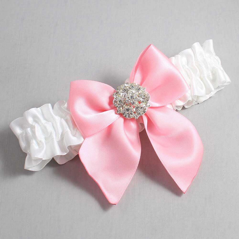 White and Pink Wedding Garter / White Wedding Garters / Elizabeth #01-B01-M11-112-White-156-Pink / Wedding Garters / Custom Wedding Garters / Bridal Garter / Prom Garter / Linda Joyce Couture