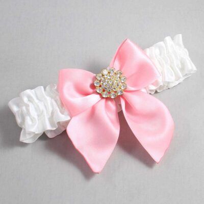 White and Pink Wedding Garter / White Wedding Garters / Penny #01-B01-M12-112-White-156-Pink / Wedding Garters / Custom Wedding Garters / Bridal Garter / Prom Garter / Linda Joyce Couture
