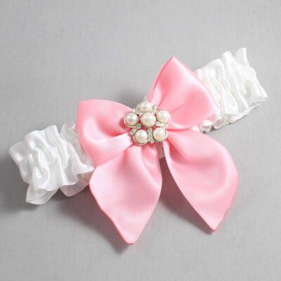 White and Pink Wedding Garter / White Wedding Garters / Monica #01-B01-M13-112-White-156-Pink / Wedding Garters / Custom Wedding Garters / Bridal Garter / Prom Garter / Linda Joyce Couture