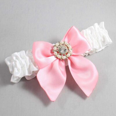 White and Pink Wedding Garter / White Wedding Garters / Adelle #01-B01-M14-112-White-156-Pink / Wedding Garters / Custom Wedding Garters / Bridal Garter / Prom Garter / Linda Joyce Couture