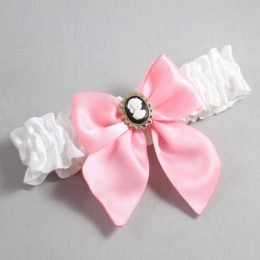 White and Pink Wedding Garter / White Wedding Garters / Amy #01-B01-M15-112-White-156-Pink / Wedding Garters / Custom Wedding Garters / Bridal Garter / Prom Garter / Linda Joyce Couture