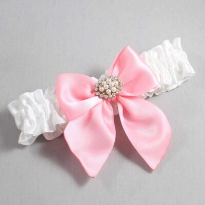 White and Pink Wedding Garter / White Wedding Garters / Cynthia #01-B01-M16-112-White-156-Pink / Wedding Garters / Custom Wedding Garters / Bridal Garter / Prom Garter / Linda Joyce Couture