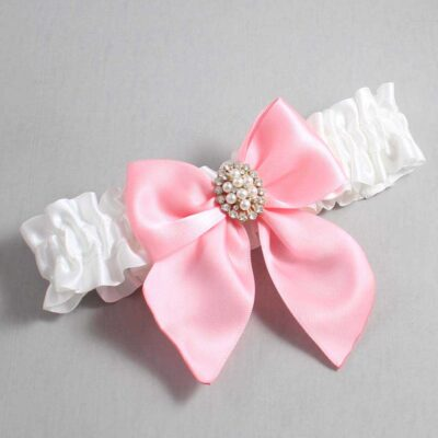 White and Pink Wedding Garter / White Wedding Garters / Annie #01-B01-M17-112-White-156-Pink / Wedding Garters / Custom Wedding Garters / Bridal Garter / Prom Garter / Linda Joyce Couture