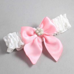 White and Pink Wedding Garter / White Wedding Garters / Kourtney #01-B01-M20-112-White-156-Pink / Wedding Garters / Custom Wedding Garters / Bridal Garter / Prom Garter / Linda Joyce Couture