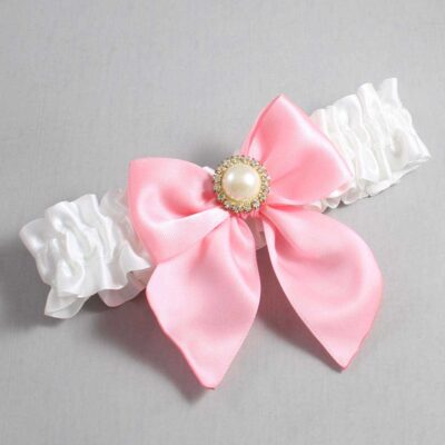 White and Pink Wedding Garter / White Wedding Garters / Paige #01-B01-M21-112-White-156-Pink / Wedding Garters / Custom Wedding Garters / Bridal Garter / Prom Garter / Linda Joyce Couture