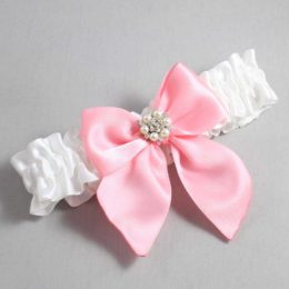 White and Pink Wedding Garter / White Wedding Garters / Naomi #01-B01-M23-112-White-156-Pink / Wedding Garters / Custom Wedding Garters / Bridal Garter / Prom Garter / Linda Joyce Couture