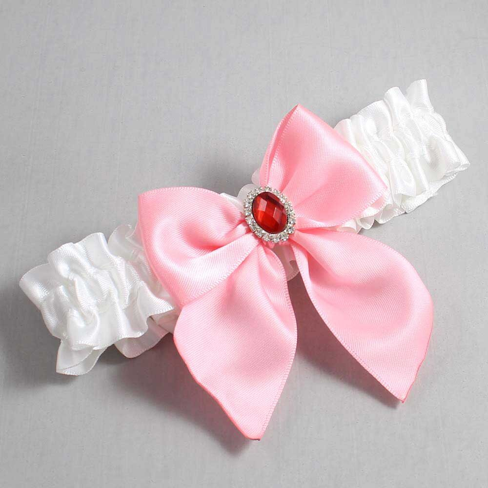 White and Pink Wedding Garter / White Wedding Garters / Danita #01-B01-M26-112-White-156-Pink / Wedding Garters / Custom Wedding Garters / Bridal Garter / Prom Garter / Linda Joyce Couture