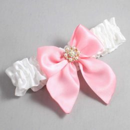 White and Pink Wedding Garter / White Wedding Garters / Larissa #01-B01-M27-112-White-156-Pink / Wedding Garters / Custom Wedding Garters / Bridal Garter / Prom Garter / Linda Joyce Couture