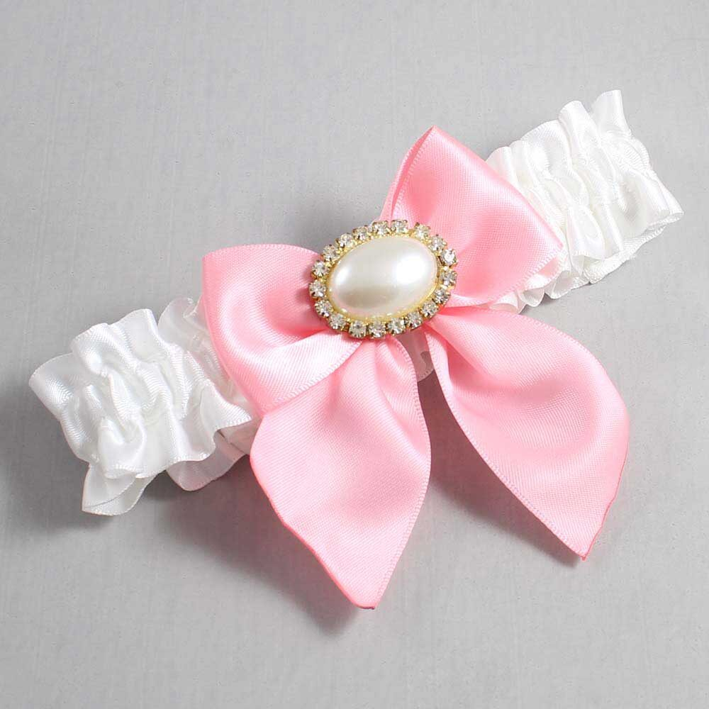 White and Pink Wedding Garter / White Wedding Garters / Nicole #01-B01-M28-112-White-156-Pink / Wedding Garters / Custom Wedding Garters / Bridal Garter / Prom Garter / Linda Joyce Couture