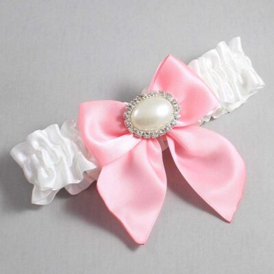 White and Pink Wedding Garter / White Wedding Garters / Nicole #01-B01-M30-112-White-156-Pink / Wedding Garters / Custom Wedding Garters / Bridal Garter / Prom Garter / Linda Joyce Couture