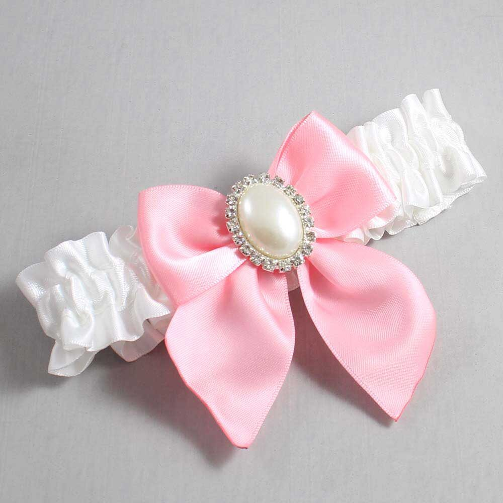 White and Pink Wedding Garter / White Wedding Garters / Maggie #01-B01-M31-112-White-156-Pink / Wedding Garters / Custom Wedding Garters / Bridal Garter / Prom Garter / Linda Joyce Couture
