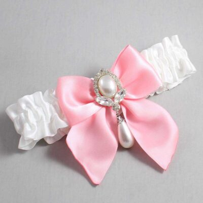 White and Pink Wedding Garter / White Wedding Garters / Jessica #01-B01-M32-112-White-156-Pink / Wedding Garters / Custom Wedding Garters / Bridal Garter / Prom Garter / Linda Joyce Couture