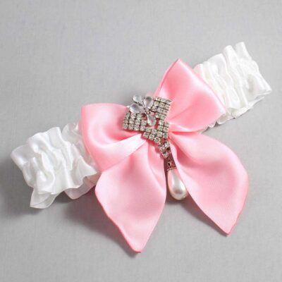 White and Pink Wedding Garter / White Wedding Garters / Madeline #01-B01-M33-112-White-156-Pink / Wedding Garters / Custom Wedding Garters / Bridal Garter / Prom Garter / Linda Joyce Couture