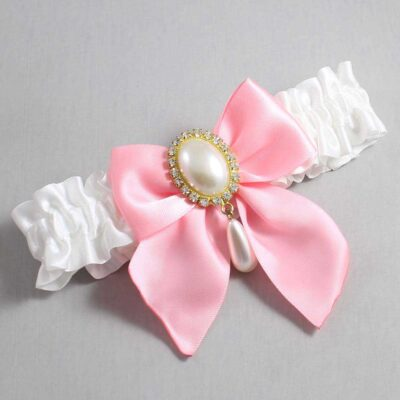 White and Pink Wedding Garter / White Wedding Garters / Michaela #01-B01-M34-112-White-156-Pink / Wedding Garters / Custom Wedding Garters / Bridal Garter / Prom Garter / Linda Joyce Couture