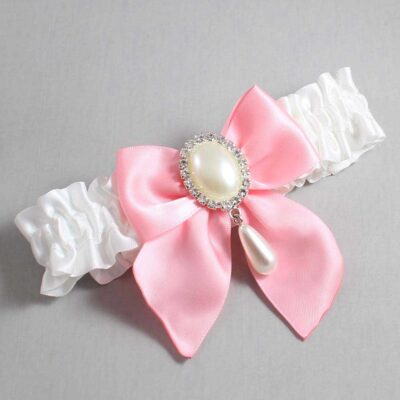 White and Pink Wedding Garter / White Wedding Garters / Michaela #01-B01-M35-112-White-156-Pink / Wedding Garters / Custom Wedding Garters / Bridal Garter / Prom Garter / Linda Joyce Couture