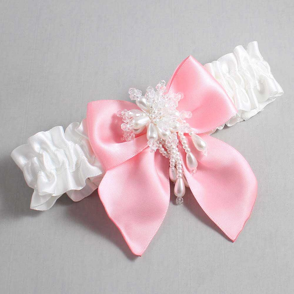 White and Pink Wedding Garter / White Wedding Garters / Daphne #01-B01-M38-112-White-156-Pink / Wedding Garters / Custom Wedding Garters / Bridal Garter / Prom Garter / Linda Joyce Couture