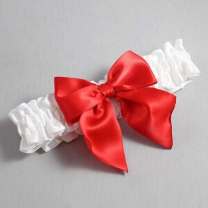 White and Red Wedding Garter / White Wedding Garters / Kimberly #01-B01-00-112-White-299-Red / Wedding Garters / Custom Wedding Garters / Bridal Garter / Prom Garter / Linda Joyce Couture