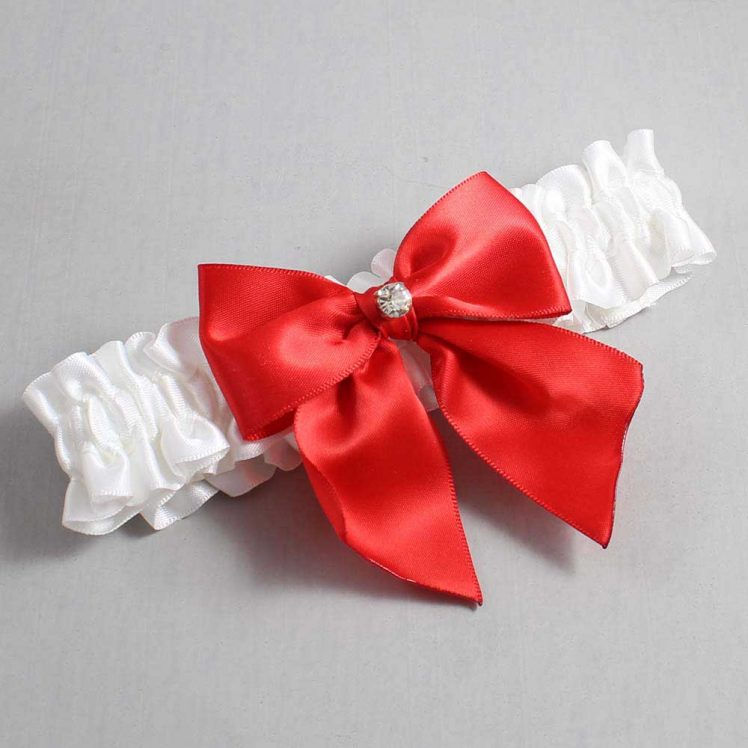White and Red Wedding Garter / White Wedding Garters / Pamela #01-B01-M03-112-White-299-Red / Wedding Garters / Custom Wedding Garters / Bridal Garter / Prom Garter / Linda Joyce Couture