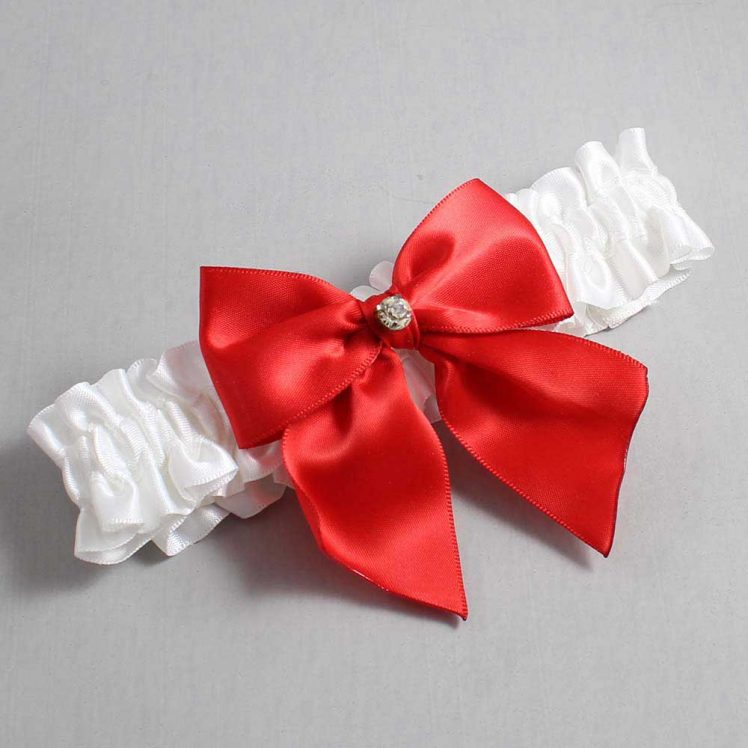 White and Red Wedding Garter / White Wedding Garters / Pamela #01-B01-M04-112-White-299-Red / Wedding Garters / Custom Wedding Garters / Bridal Garter / Prom Garter / Linda Joyce Couture