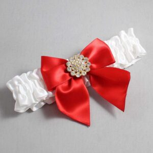 White and Red Wedding Garter / White Wedding Garters / Penny #01-B01-M12-112-White-299-Red / Wedding Garters / Custom Wedding Garters / Bridal Garter / Prom Garter / Linda Joyce Couture
