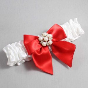 White and Red Wedding Garter / White Wedding Garters / Monica #01-B01-M13-112-White-299-Red / Wedding Garters / Custom Wedding Garters / Bridal Garter / Prom Garter / Linda Joyce Couture