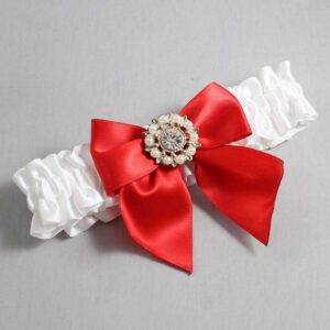 White and Red Wedding Garter / White Wedding Garters / Adelle #01-B01-M14-112-White-299-Red / Wedding Garters / Custom Wedding Garters / Bridal Garter / Prom Garter / Linda Joyce Couture