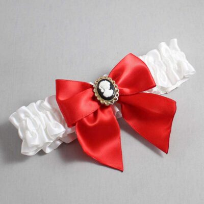 White and Red Wedding Garter / White Wedding Garters / Amy #01-B01-M15-112-White-299-Red / Wedding Garters / Custom Wedding Garters / Bridal Garter / Prom Garter / Linda Joyce Couture