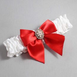 White and Red Wedding Garter / White Wedding Garters / Annie #01-B01-M17-112-White-299-Red / Wedding Garters / Custom Wedding Garters / Bridal Garter / Prom Garter / Linda Joyce Couture