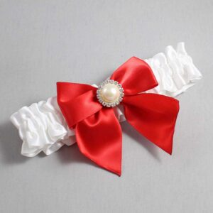 White and Red Wedding Garter / White Wedding Garters / Paige #01-B01-M21-112-White-299-Red / Wedding Garters / Custom Wedding Garters / Bridal Garter / Prom Garter / Linda Joyce Couture