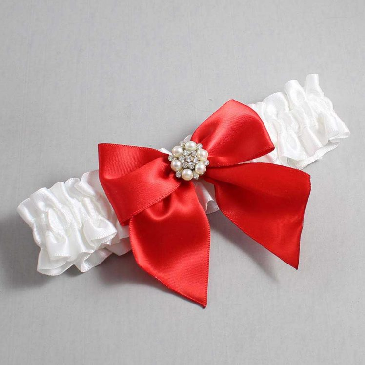 White and Red Wedding Garter / White Wedding Garters / Naomi #01-B01-M23-112-White-299-Red / Wedding Garters / Custom Wedding Garters / Bridal Garter / Prom Garter / Linda Joyce Couture