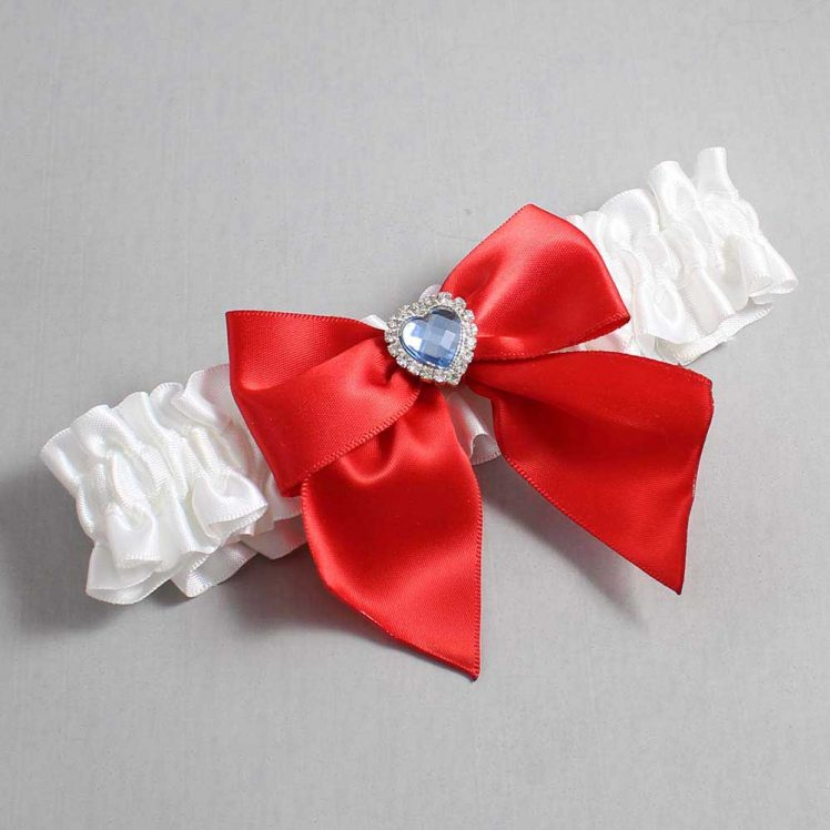 White and Red Wedding Garter / White Wedding Garters / Kittie #01-B01-M25-112-White-299-Red / Wedding Garters / Custom Wedding Garters / Bridal Garter / Prom Garter / Linda Joyce Couture
