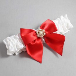 White and Red Wedding Garter / White Wedding Garters / Larissa #01-B01-M27-112-White-299-Red / Wedding Garters / Custom Wedding Garters / Bridal Garter / Prom Garter / Linda Joyce Couture