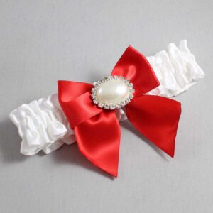 White and Red Wedding Garter / White Wedding Garters / Nicole #01-B01-M30-112-White-299-Red / Wedding Garters / Custom Wedding Garters / Bridal Garter / Prom Garter / Linda Joyce Couture