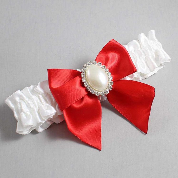 White and Red Wedding Garter / White Wedding Garters / Maggie #01-B01-M31-112-White-299-Red / Wedding Garters / Custom Wedding Garters / Bridal Garter / Prom Garter / Linda Joyce Couture
