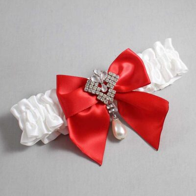 White and Red Wedding Garter / White Wedding Garters / Madeline #01-B01-M33-112-White-299-Red / Wedding Garters / Custom Wedding Garters / Bridal Garter / Prom Garter / Linda Joyce Couture