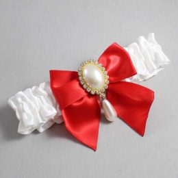 White and Red Wedding Garter / White Wedding Garters / Michaela #01-B01-M34-112-White-299-Red / Wedding Garters / Custom Wedding Garters / Bridal Garter / Prom Garter / Linda Joyce Couture