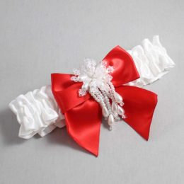 White and Red Wedding Garter / White Wedding Garters / Daphne #01-B01-M38-112-White-299-Red / Wedding Garters / Custom Wedding Garters / Bridal Garter / Prom Garter / Linda Joyce Couture