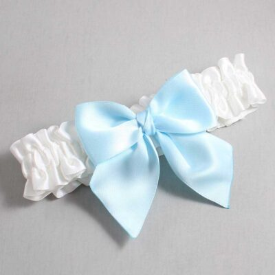 White and Alice Blue Wedding Garter / White Wedding Garters / Kimberly #01-B01-00-112-White-305-Alice-Blue / Wedding Garters / Custom Wedding Garters / Bridal Garter / Prom Garter / Linda Joyce Couture