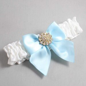 White and Alice Blue Wedding Garter / White Wedding Garters / Penny #01-B01-M12-112-White-305-Alice-Blue / Wedding Garters / Custom Wedding Garters / Bridal Garter / Prom Garter / Linda Joyce Couture