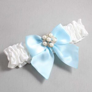 White and Alice Blue Wedding Garter / White Wedding Garters / Monica #01-B01-M13-112-White-305-Alice-Blue / Wedding Garters / Custom Wedding Garters / Bridal Garter / Prom Garter / Linda Joyce Couture