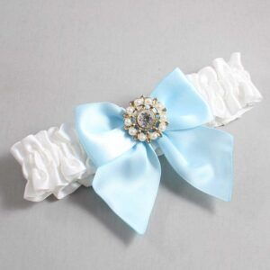 White and Alice Blue Wedding Garter / White Wedding Garters / Adelle #01-B01-M14-112-White-305-Alice-Blue / Wedding Garters / Custom Wedding Garters / Bridal Garter / Prom Garter / Linda Joyce Couture